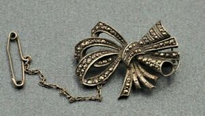 Womens Marcasite Sterling Silver Bow Brooch Fine Dress Jewellery Vintage