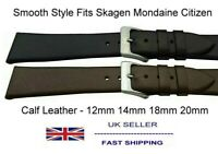 Elegant Leather Dress Watch Strap Unstitched 12mm to 20mm Fits Mondaine