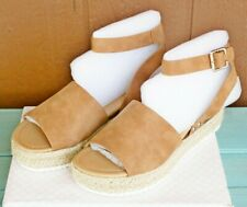 SODA Topic Flatform Sandals Espadrille Size 10 Tan Brown Leather Woven Buckle