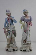 Pair Late 19th Century Continental Figures Lady & Gentleman 25cm High