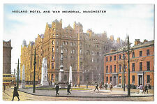 Midland Hotel & War Memorial, Manchester PPC, Unposted, by Valentines