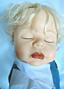 """Doll 23"""" Sleeping Baby Boy Ceramic Face Hands Shoes W/Cloth & Wire Body, Heavy"""