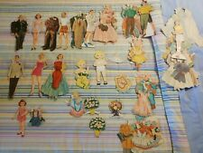 Vintage Bride And Groom and 12 other Paper Dolls Numerous Clothes