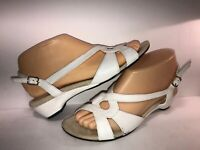 ROS HOMMERSON SZ 7 WHITE LEATHER SLINGBACK STRAPPY WOMEN SANDALS PUMPS WS11-2-6