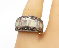 925 Sterling Silver - Vintage Marcasite Decorated Tapered Band Ring Sz 9- R16227