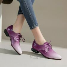 US4-14.5 Womens Patent Leather Pointed toe Lace up Oxfords Low Block Heel Shoes