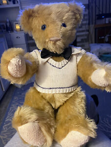Limited Edition 15 in. Mohair Vermont Teddy Bear golden brown vest bow tie Boy