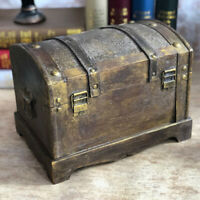Retro Wooden Pirate Treasure Chest Gem Jewelry Case Storage Organizer