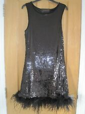 ZARA WOMAN Limited Edition sequin/feather black dress size M (10-12) RRP £129!!