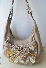MIMCO Large Soft Pebbled Leather Hobo Bag Basket Weave Front Pocket Rare Design