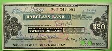 Used Barclays Bank $20 Traveler's Check, 1979.  Cancelled.