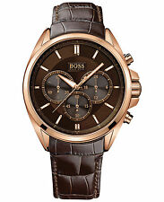 Hugo Boss Men's Chronograph Driver Brown Leather Strap Watch 1513036 (NEW)