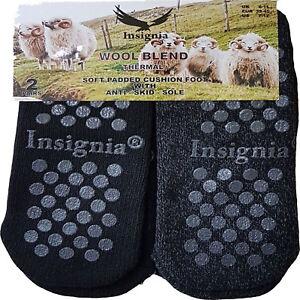 Mens Luxury Slipper Socks gripper thermal lounge cosy 2 pack wool LOUNGEWEAR