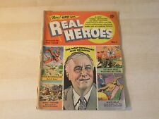 REAL HEROES #1 GOLDEN AGE MID GRADE FDR COVER NOT ABOUT IMPOSSIBLE SUPERMEN!!