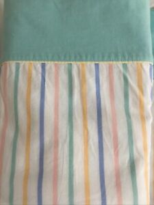 Vintage 1980s Flat Small SB Candy cane Stripe & Mint Cotton Sheet 150 x 220