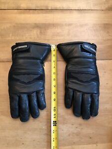 VINTAGE Harley Davidson Genuine Leather Nylon Cuffs Winter Gauntlet Gloves Sz.L