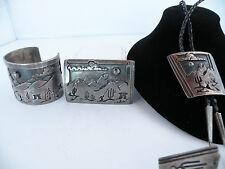 Huge Native American, Papago Sterling bracelet, buckle, bolo tie storyteller set