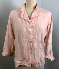 Vintage 40's 50's Pink Silk Blouse with Top Stitched Tabs Medium