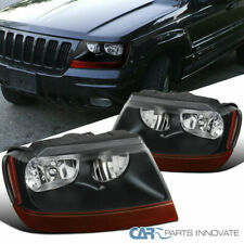 Jeep 99-04 Grand Cherokee Black Headlights Amber Turn Signal Lamps Left+Right