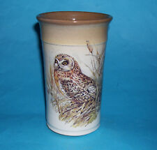 Wenlock Studio Pottery - Attractive Owl Decorated Canister Type Vase - (M.Mark).