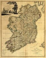 Ireland Map old Vintage Illustrated Travel Poster Print on canvas art painting