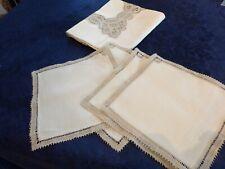 NAPPE à THé  en Lin  & 4 serviettes
