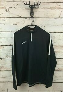 NIKE Boys Jumper Sweater 13-15 Years XL Black Polyester 1/4 Zip