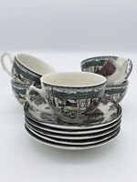 Johnson Bros. Friendly Village THE ICE HOUSE Tea Cup and Saucer SET OF 5