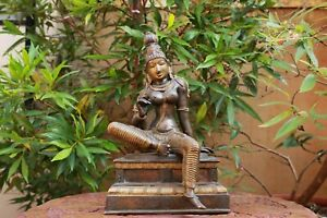 Hindu Goddess Statue Brass Temple Lady Sculpture Antique Home Decor Vintage Idol