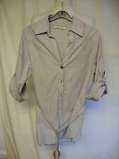 "Ladies Top Overshirt Cherokee UK 8, brown pinstripe, length 31"", thin belt 7559"