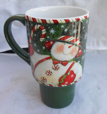 LANG TRAVEL MUG CUP COFFEE SAM'S CANDY CANE 5036011 SUSAN WINGET SNOWMAN