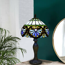 More details for tiffany antique style table lamp stained glass handcrafted desk/bedside lamps uk