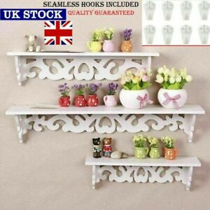3Pcs White Wooden Wall Mounted Shelf Display Hanging Rack Storage Home Décor