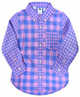 Girls Long Sleeve Shirt Kids New T shirt Pink Blue Check Top Ages 2 3 4 5 Years