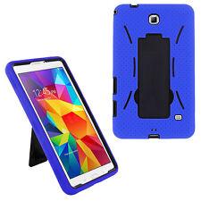 Black/Blue Heavy Duty Silicone Plastic Hybrid Case for Samsung GALAXY Tab 4 Nook