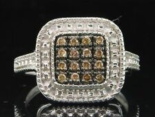 Brown Diamond Square Fashion Right Hand Ring .925 Sterling Silver 0.19 Ct