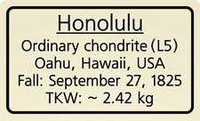 Meteorite label Honolulu