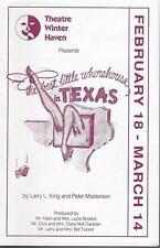 Programme 1992 - 1993 -Theatre Winter Haven, FL  BEST LITTLE WHOREHOUSE IN TEXAS