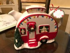 Blue Sky Clayworks Christmas Decor Camper Teapot