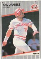 FREE SHIPPING-MINT-1989 Fleer Kal Daniels #157 REDS PLUS BONUS CARDS
