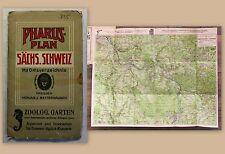 Pharus-Plan Sächsische Schweiz Landkarte um 1910 1:80.000 Sachsen Saxonica xz