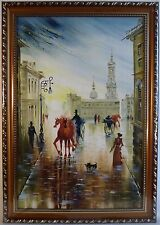 """Hand painted Cityscape canvas, Impressionist art Oil painting, Framed ~ 19""""x26"""""""