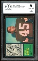 1962 Topps #36 Ernie Davis Rookie Card BGS BCCG 9 Near Mint+