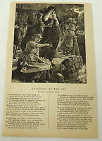 1881 magazine engraving with poem ~WATCHERS BY THE SEA by Mrs. G. Linnaeus Banks