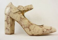 """Marc Fisher Gold mary Jane heels Womens 9.5 Tapestry 4"""" EUC Buckle"""