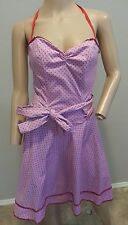 VTG 90's Betsey Johnson NY Polka Dot Sequin Retro Pinup Purple Red Dress 6
