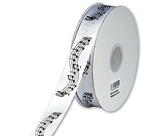 Musical Notation on White Satin Ribbon - Club Green - 20mm wide x 2 metres
