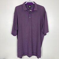 FootJoy FJ Mens Purple Athletic Stripe Short Sleeve Polo Golf Shirt Size XXL 2XL