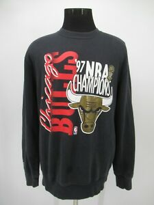 P5196 VTG Chicago Bulls 1997 NBA Finals Champions Team Sweatshirt Size XL