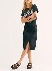 Free People Womens OB989881 Whitney Vegan Skirt Skinny Black Size XS